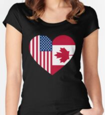 USA Canada flag heart Women's Fitted Scoop T-Shirt