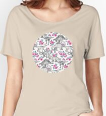 Dinosaurs and Roses – white Women's Relaxed Fit T-Shirt