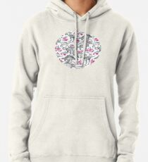Dinosaurs and Roses – white Pullover Hoodie