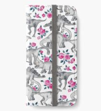 Dinosaurs and Roses – white iPhone Wallet/Case/Skin