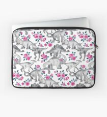 Dinosaurs and Roses – white Laptop Sleeve
