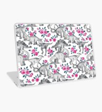 Dinosaurs and Roses – white Laptop Skin