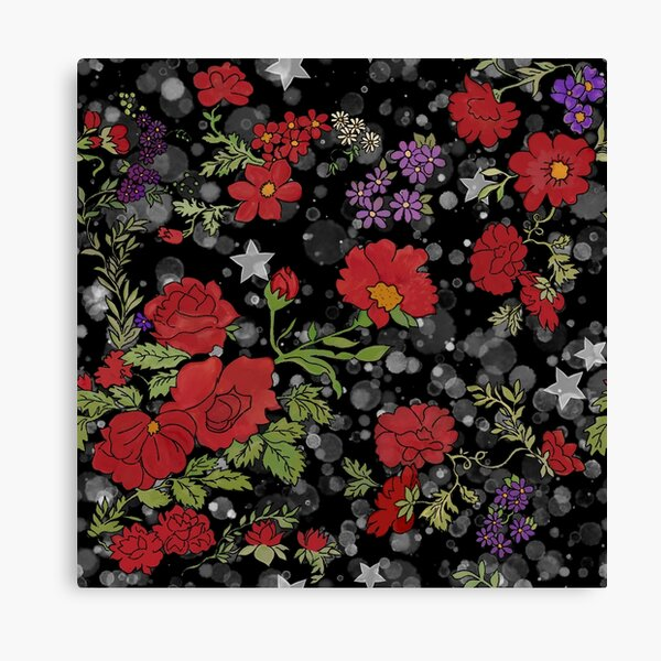 Red Cottage Rose on Black Star Background Canvas Print