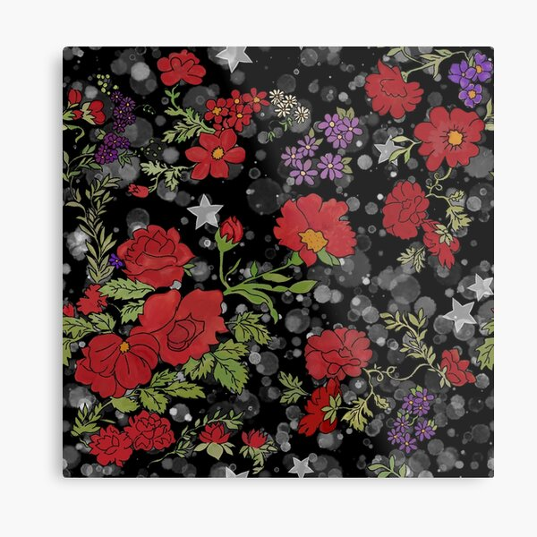 Red Cottage Rose on Black Star Background Metal Print