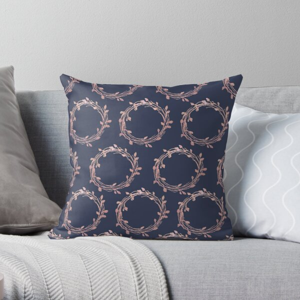 Navy and Rose Gold Wreaths Throw Pillow