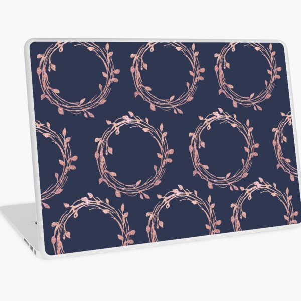 Navy and Rose Gold Wreaths Laptop Skin