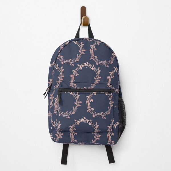 Navy and Rose Gold Wreaths Backpack