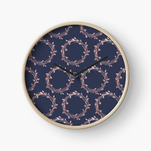 Navy and Rose Gold Wreaths Clock