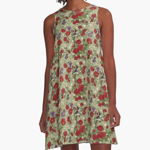 Red Cottage Rose on Spring Green Star Background A-Line Dress