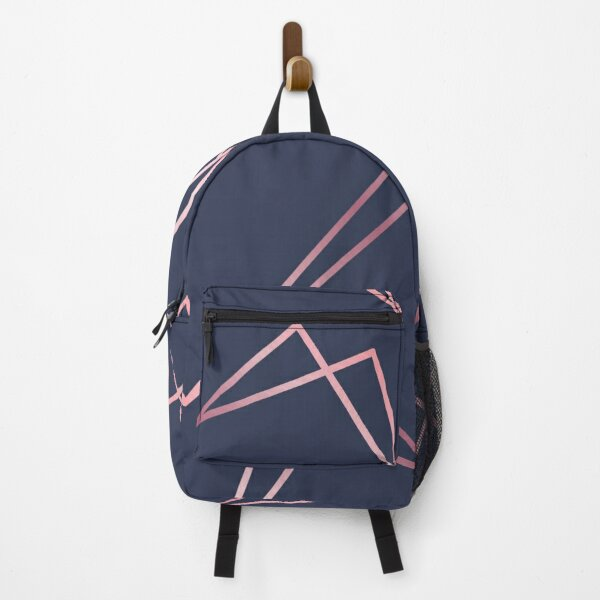 Navy and Rose Gold Geometric Shapes  Backpack