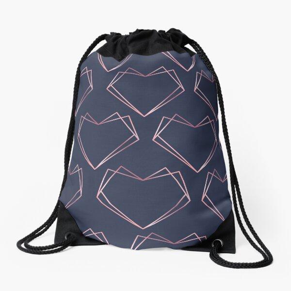 Navy and Rose Gold Geometric Shapes  Drawstring Bag