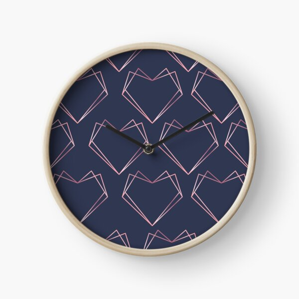 Navy and Rose Gold Geometric Shapes  Clock