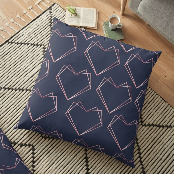 Navy and Rose Gold Geometric Shapes  Floor Pillow