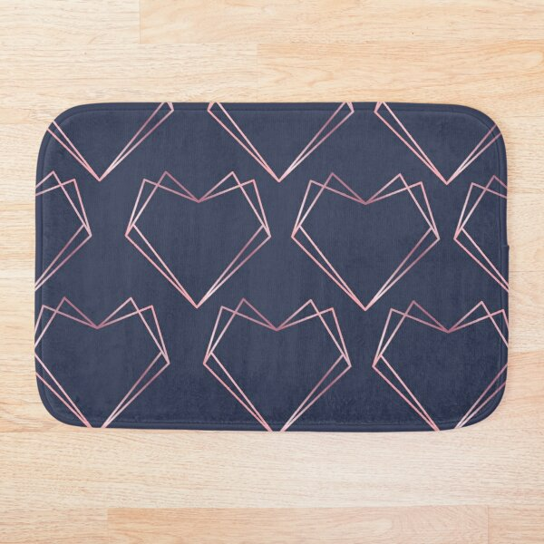 Navy and Rose Gold Geometric Shapes  Bath Mat
