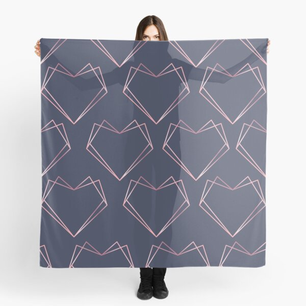 Navy and Rose Gold Geometric Shapes  Scarf