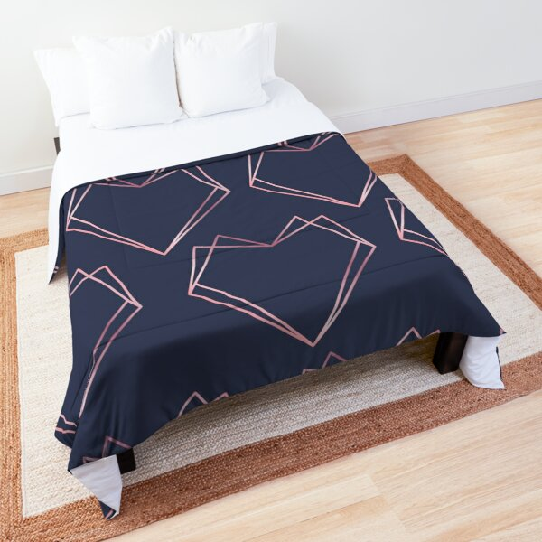 Navy and Rose Gold Geometric Shapes  Comforter