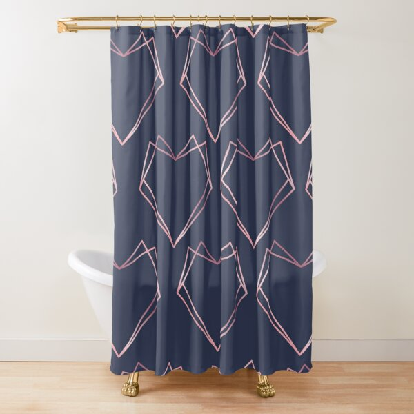 Navy and Rose Gold Geometric Shapes  Shower Curtain