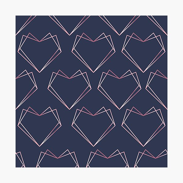 Navy and Rose Gold Geometric Shapes  Photographic Print