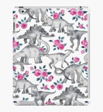 Dinosaurs and Roses – white iPad Case/Skin