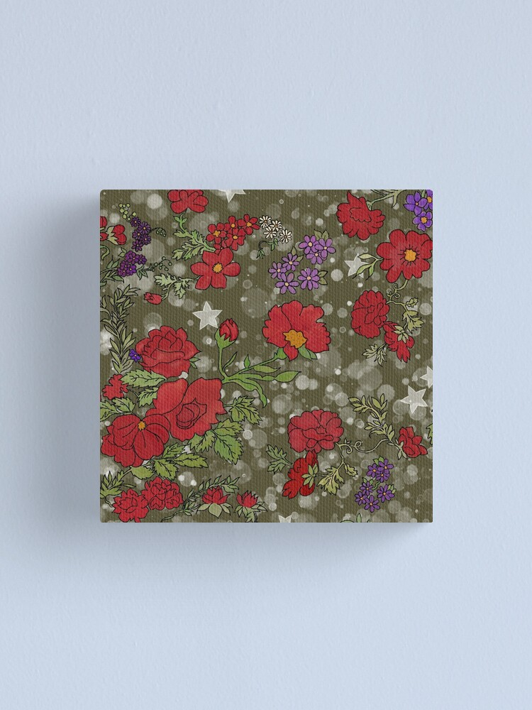 Alternate view of Red Cottage Rose on Olive Green Star Background Canvas Print