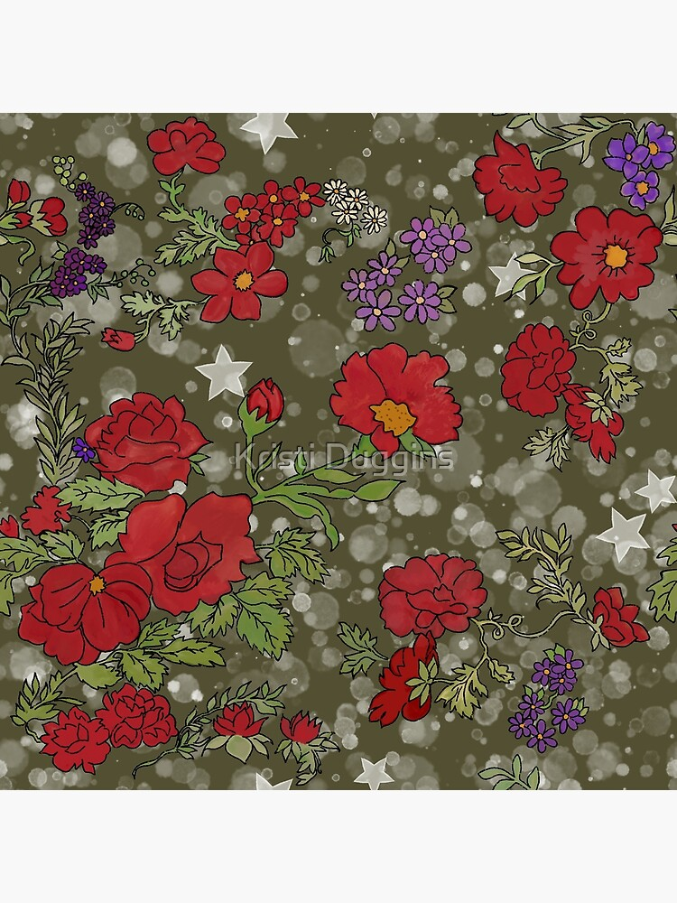 Red Cottage Rose on Olive Green Star Background by BohoBear