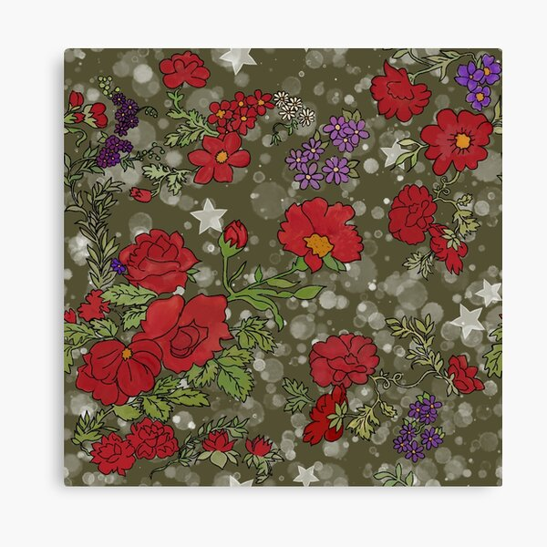 Red Cottage Rose on Olive Green Star Background Canvas Print