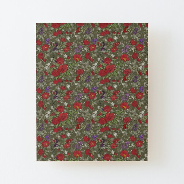Red Cottage Rose on Olive Green Star Background Wood Mounted Print