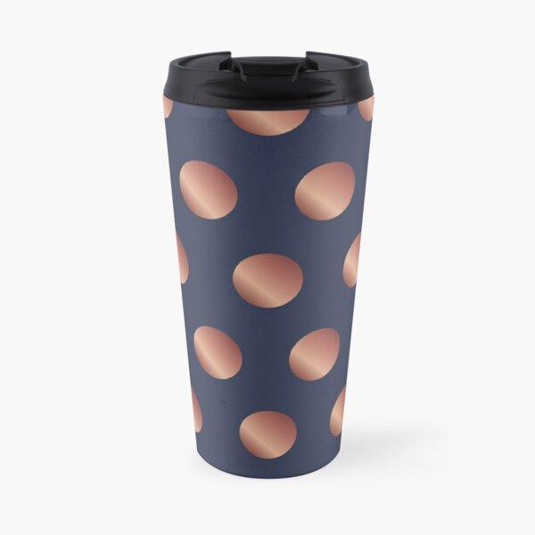 Navy and Rose Gold Polka Dots Travel Mug
