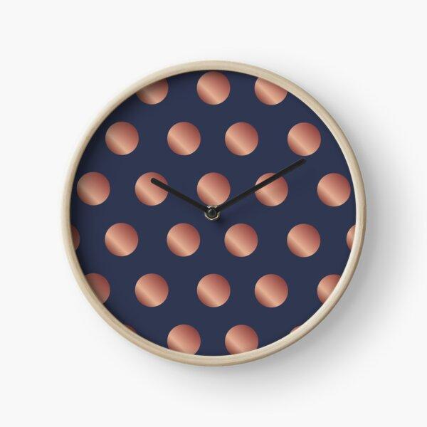 Navy and Rose Gold Polka Dots Clock