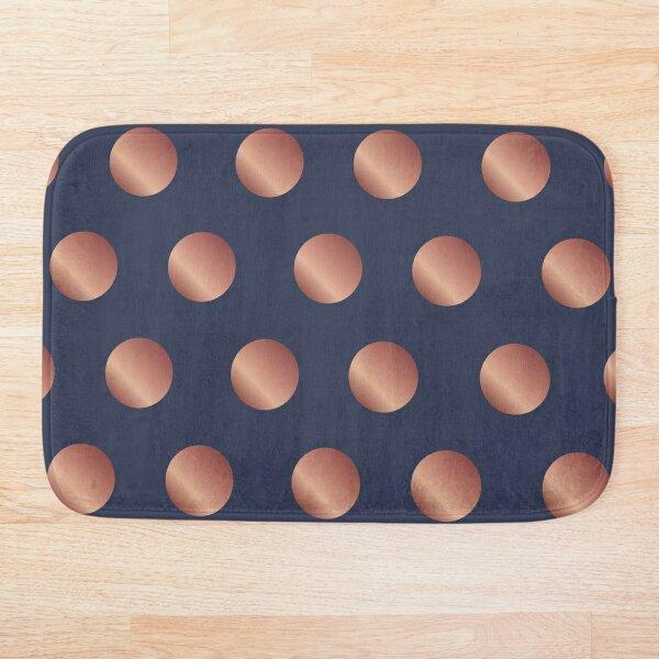 Navy and Rose Gold Polka Dots Bath Mat