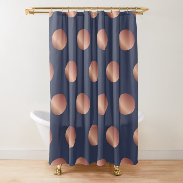 Navy and Rose Gold Polka Dots Shower Curtain