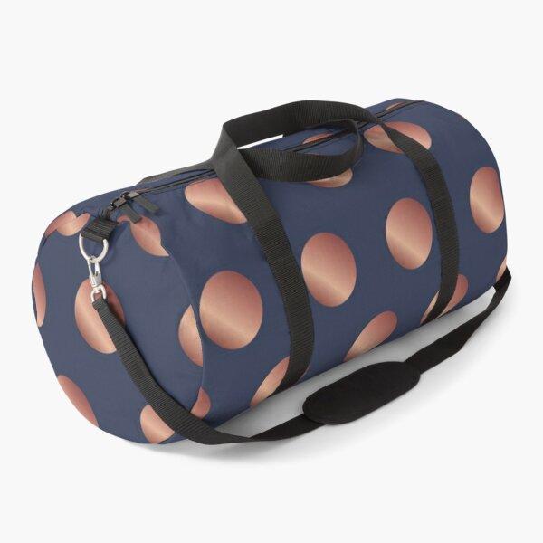 Navy and Rose Gold Polka Dots Duffle Bag