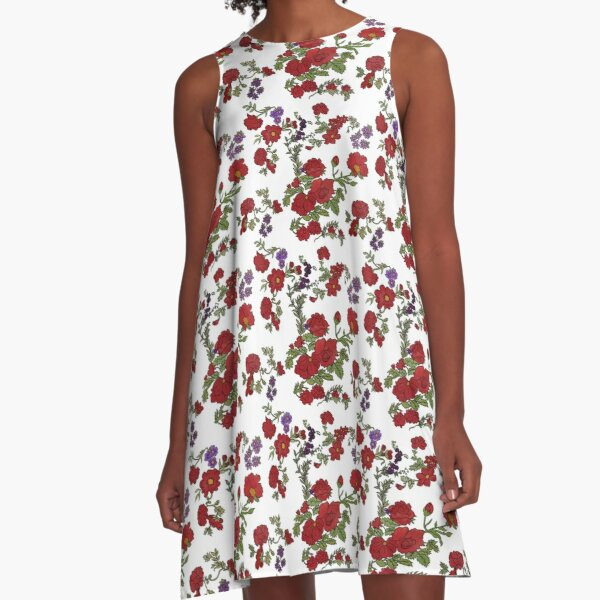 Red Cottage Rose on White Background A-Line Dress