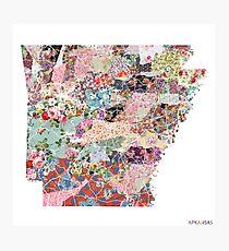 Arkansas map Photographic Print
