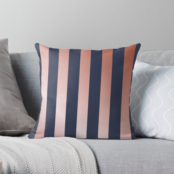 Navy and Rose Gold Vertical Stripes Throw Pillow