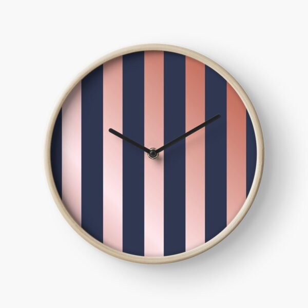 Navy and Rose Gold Vertical Stripes Clock