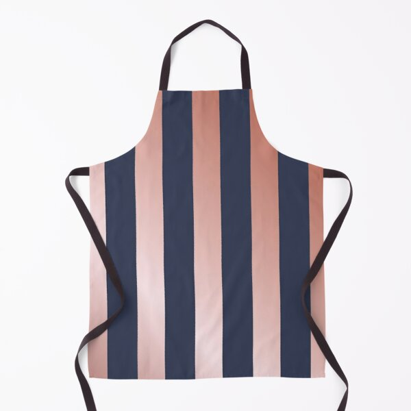 Navy and Rose Gold Vertical Stripes Apron