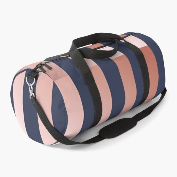 Navy and Rose Gold Vertical Stripes Duffle Bag