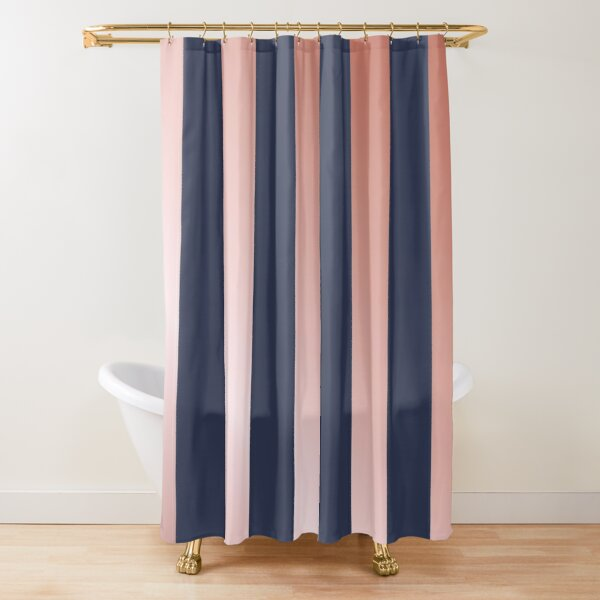 Navy and Rose Gold Vertical Stripes Shower Curtain