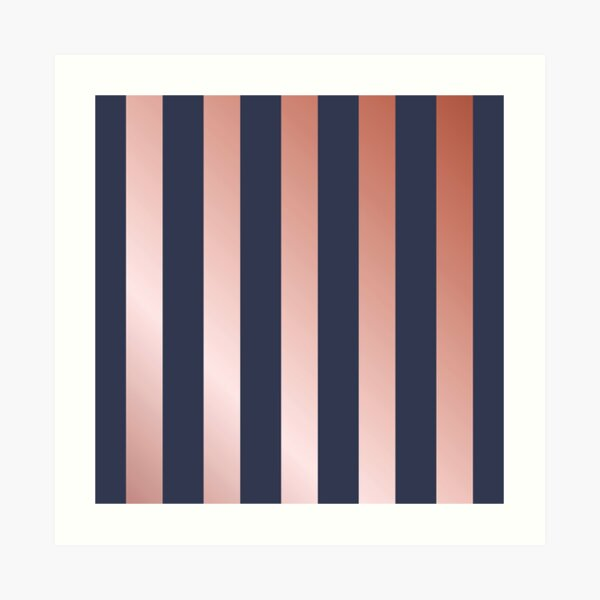 Navy and Rose Gold Vertical Stripes Art Print