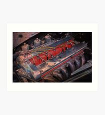Retro urban auto engine. Art Print