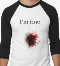 Bullet Shot, I am Fine Men's Baseball ¾ T-Shirt