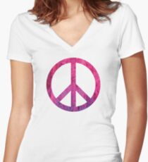 Peace Sign - Grunge Texture with Scratches Women's Fitted V-Neck T-Shirt