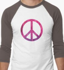 Peace Sign - Grunge Texture with Scratches Men's Baseball ¾ T-Shirt