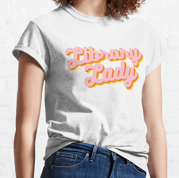 Retro Library Lady Design in Pink, Yellow, & Orange  Classic T-Shirt