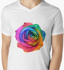 Rainbow Rose 01 Men's V-Neck T-Shirt