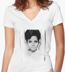 DIANA ROSS FACE GRAPH Women's Fitted V-Neck T-Shirt