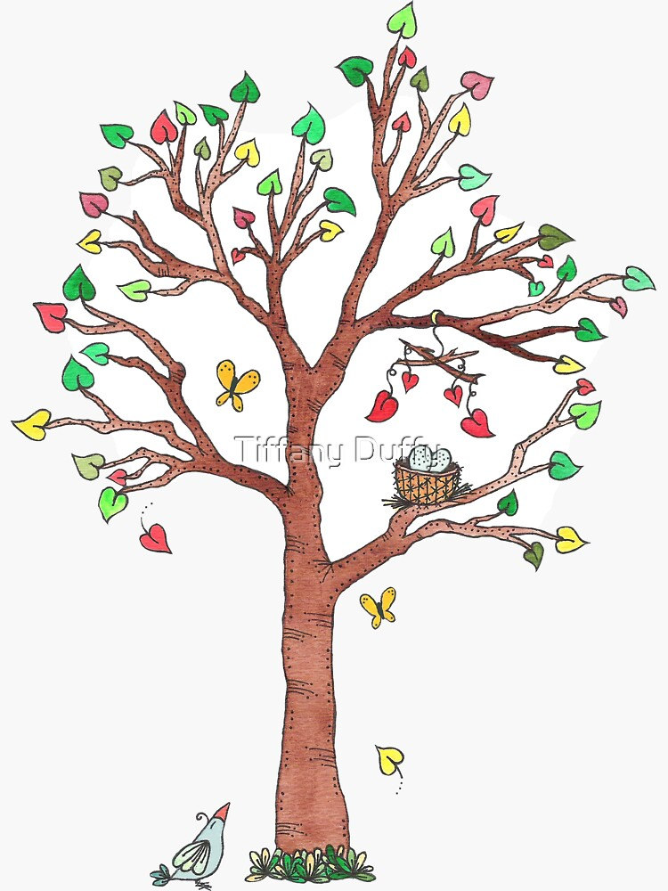 Mama Bird and Nest in Heart Tree Watercolor by tiffjamaica