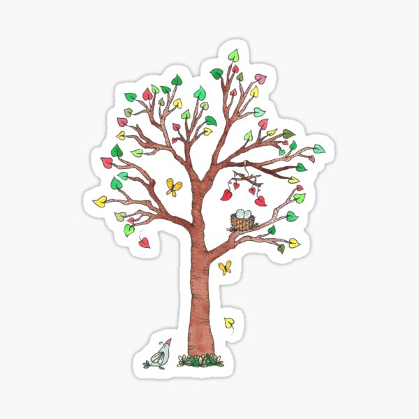 Mama Bird and Nest in Heart Tree Watercolor Sticker