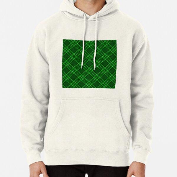 Bright Green and Black Tartan Check Plaid Pullover Hoodie